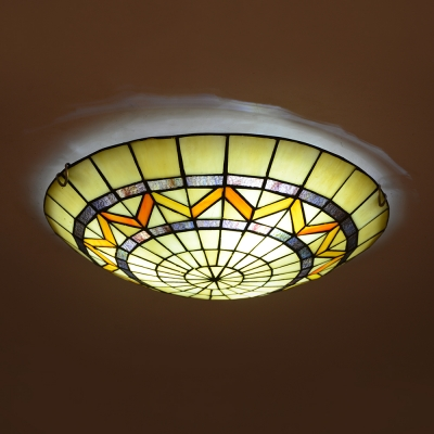 Stained Glass Domed Ceiling Lamp Traditional Tiffany Flush Light in Beige for Dining Table