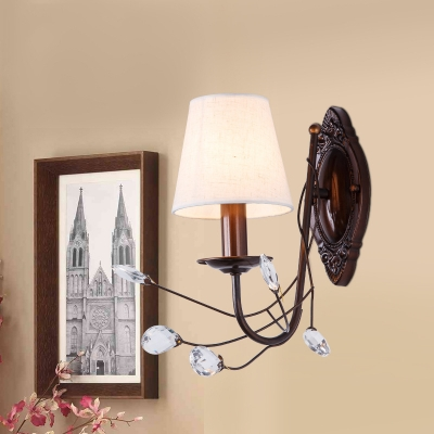 Tapered Shade Villa Wall Light Fabric 1/2 Heads Antique Style Wall Sconce with Crystal Leaf