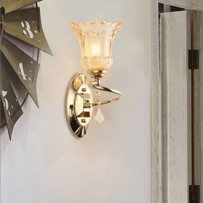 1/2 Lights Floral Wall Light with Crystal Classic Style Metal Sconce Light in Gold for Bedroom