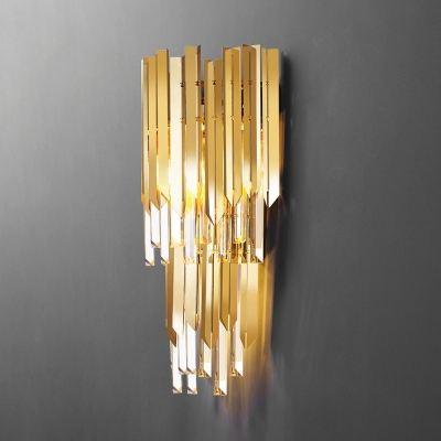 2-Tier 1 Light Wall Light Contemporary Metal Clear Crystal Wall Lamp in Gold for Adult Bedroom