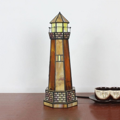 Tiffany Creative Lighthouse Table Light with Plug-In Cord Stained Glass Night Light for Baby Bedroom