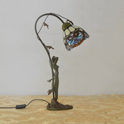 1 Bulb Downlight Desk Light with Women Deco Resin Table Light in Bronze for Study Room