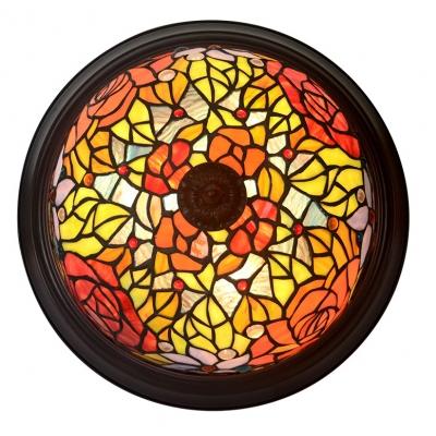 Rustic Tiffany Multi-Color Ceiling Light Blossom Glass Flush Mount Light for Living Room
