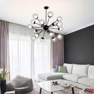 12/18 Light Sputnik Hanging Lamp Contemporary Style Glass Chandelier in Black/Gold for Villa