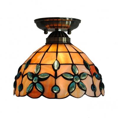 Antique Style Ceiling Mount Light with Bead/Heart/Hollow/Magnolia 1 Bulb Shell Flush Light for Hallway