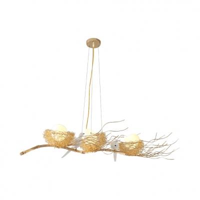 Metal Nest Island Light with Bird & Egg Restaurant 3 Heads Creative Island Chandelier in Gold