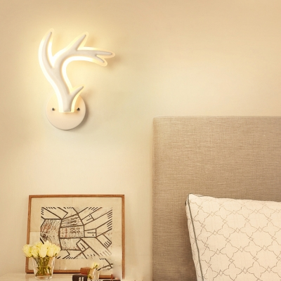 Nordic Style Antlers Sconce Light Acrylic White LED Wall Lamp in Warm/White for Kid Bedroom