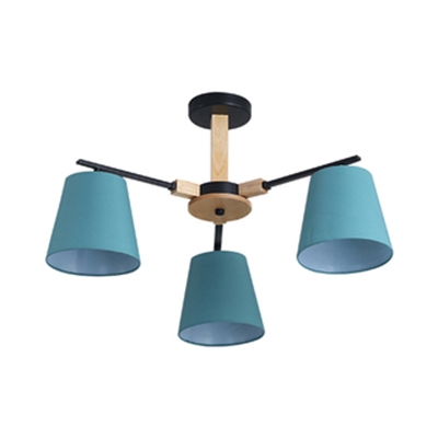 Bucket Shade Bedroom Chandelier Metal Wood 3/6 Lights Nordic Style Hanging Light in Blue/Green/White/Yellow