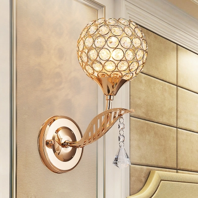 Elegant Style Globe Wall Light Metal One Light Gold Finish Wall Lamp with Crystal Bead for Bathroom