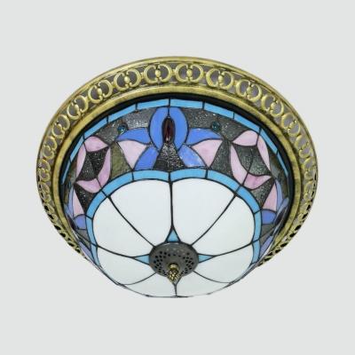 Glass Beads/Magnolia/Peacock Ceiling Light Antique Tiffany Flush Mount Light for Dining Room