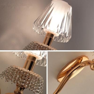 Gold Curved Arm Wall Light 1 Head Contemporary Metal Wall Sconce with Crystal Tapered Shade for Hotel