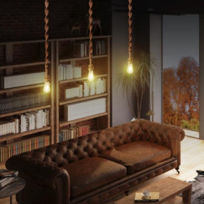Rustic Stylish Open Bulb Pendant Light 1/3 Pack 1 Bulb Rattan Cord Hanging Light in Brown for Hallway