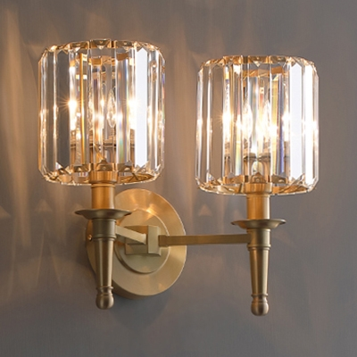 Luxurious Style Drum Wall Sconce 1/2 Bulbs Metal Wall Lamp with Clear Crystal in Gold for Bedroom