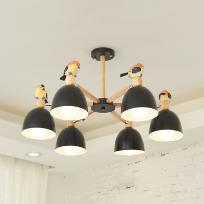 Metal Dome Shade Pendant Light Living Room 3/6 Lights Nordic Style Hanging Light in Black/White