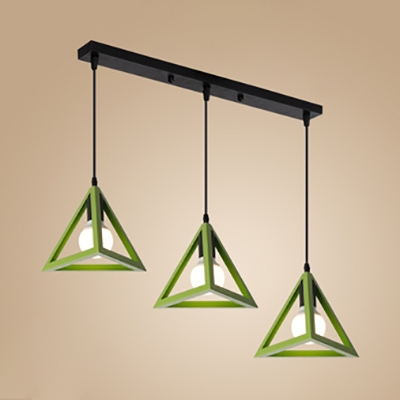 Nordic Style Triangle Pendant Light Three Lights Metal Suspension Light in Blue/Green/Red/Yellow for Kitchen
