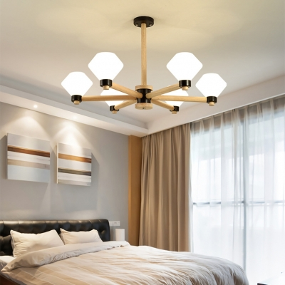 Nordic Style Urn Chandelier 6 Lights Wood Glass Ceiling Pendant in Beige for Restaurant Bedroom
