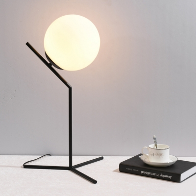 Spherical Shade Standing Desk Lamp Modern White Glass 1 Head Desk Light for Study Bedroom