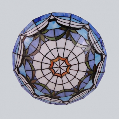 Tiffany Traditional Ceiling Mount Light Bowl Shade Stained Glass Flush Ceiling Light for Living Room