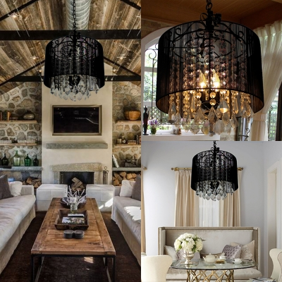 Traditional Style Drum Chandelier Wrought Iron Black Pendant Lamp with Crystal Deco for Hotel