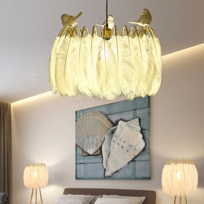 White Drum Hanging Light with Resin Bird 1 Bulb Rustic Style Feather Pendant Light for Living Room