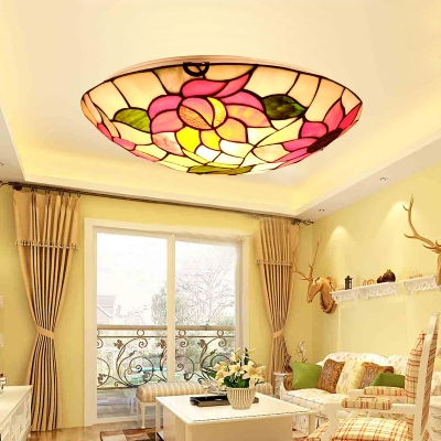 12/16/19.5 Inch Sunflower Flush Ceiling Light Rustic Stylish Stained Glass Ceiling Lamp for Restaurant
