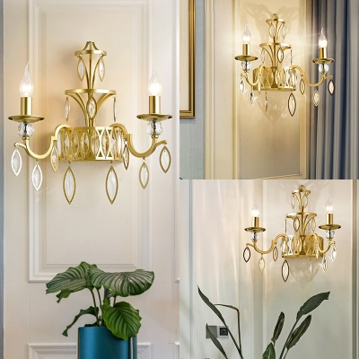 2 Lights Candle Wall Light Classic Style Metal Wall Lamp in Gold with Crystal Leaf for Restaurant