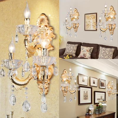 3 Lights Candle Sconce Light Elegant Style Metal Wall Lamp in Gold for Dining Room Hallway