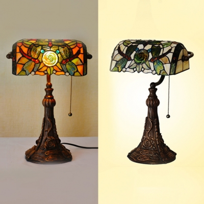 1 Head Dragonfly Banker Lamp Rustic Tiffany Stained Glass Table Light with Pull Chain for Study Room