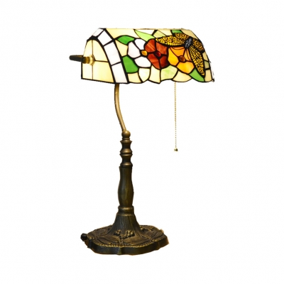 Office Banker Design Table Light Stained Glass 1 Bulb Tiffany Antique Table Lamp with Pull Chain
