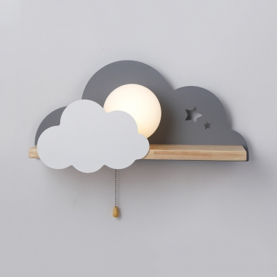 Cute Sun & Cloud Wall Light with Pull Chain Metal Gray/Pink/White LED Sconce Light for Girls Bedroom