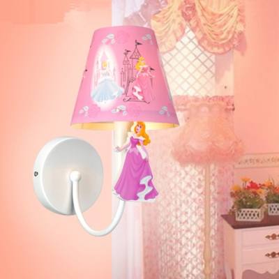 Fabric Bucket Sconce Light with Airplane/Princess 1 Bulb Kids Wall Lamp in Blue/Pink for Child Bedroom