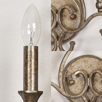 Antique Style Aged Steel Wall Light Candle 2 Lights Iron Sconce Light with Amber Crystal for Villa