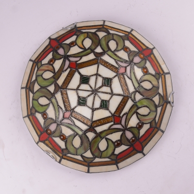 Bowl Shade Living Room Chandelier Stained Glass Tiffany Vintage Ceiling Lamp in Brown/Red/Yellow