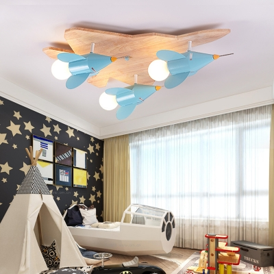 Boys Bedroom Airplane Ceiling Lamp Wood 4 Heads Nordic Style Beige LED Flush Mount Light