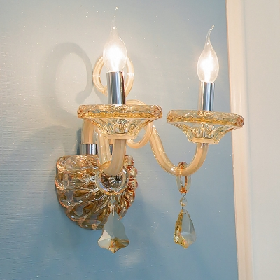 Chrome Candle Sconce Light 1/2 Heads Classic Stylish Crystal Sconce Light for Hallway Bedroom