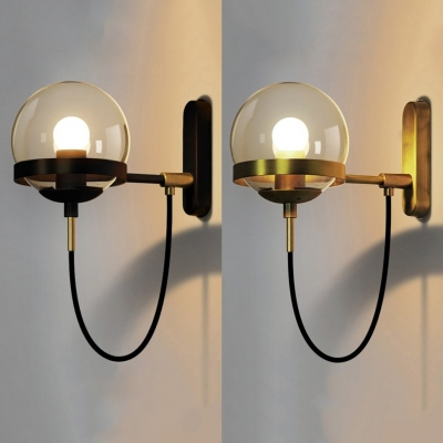 Cognac Glass Globe Wall Light Post Modern 1 Bulb Sconce Lighting in Black/Gold Finish