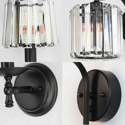 Cylinder Living Room Wall Sconce with Crystal Shade Metal 1 Bulb American Rustic Sconce in Black Finish