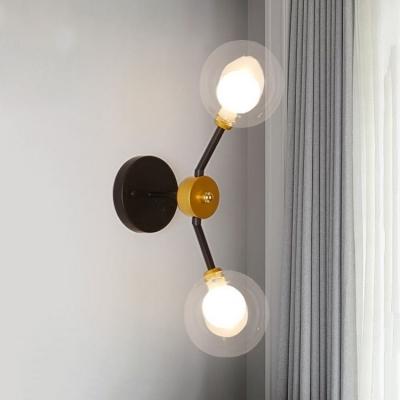 Double Glass Globe Wall Light Post Modern 2-Light Wall Lamp for Bedroom Bathroom