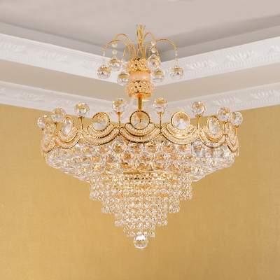 Glittering Crystal Cone Pendant Light Hotel Villa European Style Chandelier in Gold Finish