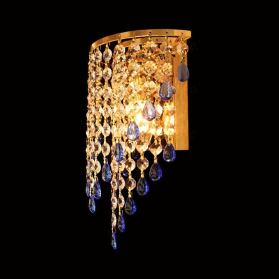 Glittering Crystal Living Room Wall Lamp Metal 1 Light Glamorous Wall Light in Gold Finish