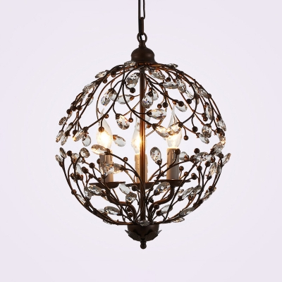 Industrial Candle Pendant Lamp with Crystal Deco 3 Lights Metal Chandelier in Black/Rust for Hotel
