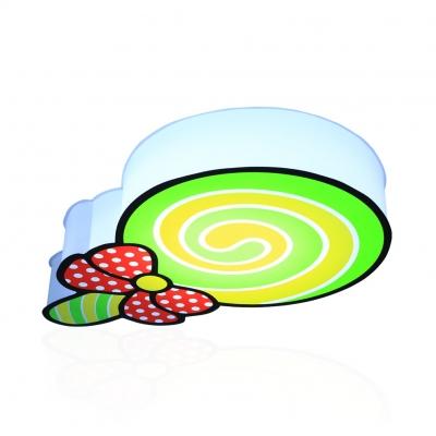 Lovely Bow Lollipop Flush Ceiling Light Acrylic Ceiling Lamp in Green/Pink for Boys Girls Bedroom