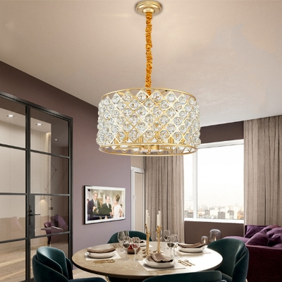 Luxurious Round Pendant Lamp with Crystal Ball Metal 6 Lights Gold Chandelier for Living Room