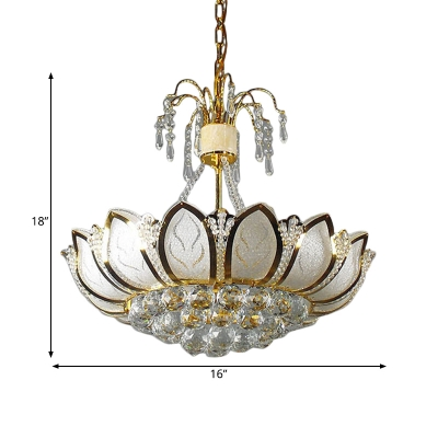 Metal Lotus LED Chandelier with Clear Crystal 6 Lights Luxurious Style Pendant Lamp in Gold for Hotel