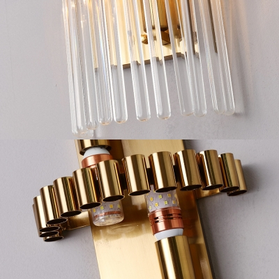 Modern Stylish Gold Wall Lamp Tube Clear Crystal 2 LED Wall Sconce for Bedroom Study Room