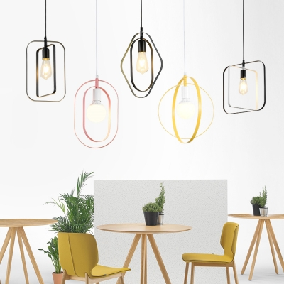 Nordic Style Hanging Pendant Light for Cafe Restaurant Metal 1 Light Suspended Lamp in Multi Colors