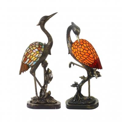 Office Crane Bird Table Light Stained Glass&Resin 1 Light Tiffany Vivid Brass Night Light