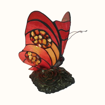 Restaurant Bedroom Butterfly Table Light with Rose Stained Glass 1 Light Tiffany Stylish Red Night Light