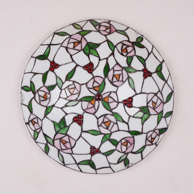 Rose Living Room Flush Ceiling Light Stained Glass Tiffany Rustic Ceiling Lamp with Beads