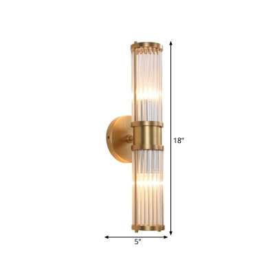 Simple Style Gold Wall Light Tube Shape 1/2 Heads Metal Clear Crystal Sconce Lamp for Living Room
